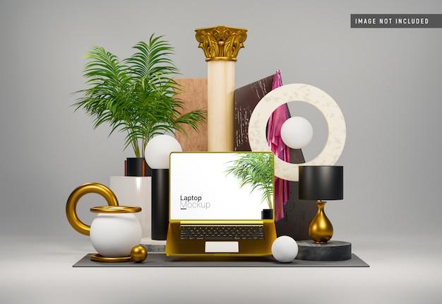 Maquete de argila macbook pro gold front view