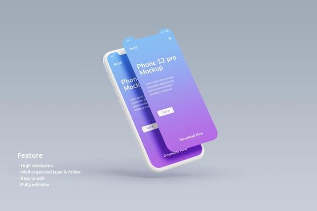Maquete de argila para smartphone voador com tela dupla