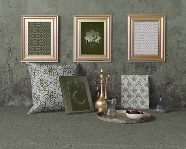Maquete de arranjo de ramadan festivo