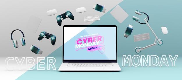 Maquete de arranjo de venda de cyber segunda-feira de vista frontal