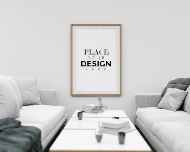 Maquete de arte de parede, moldura de tela na sala de estar
