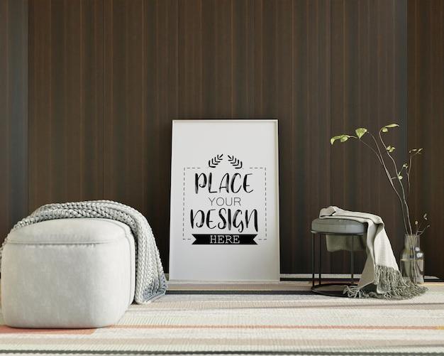 Maquete de arte de parede, tela ou porta-retrato na sala de estar