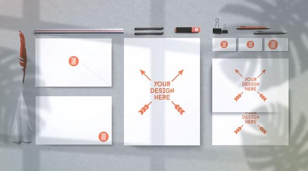 Maquete de artigos de papelaria sunglight verão moderno, vista superior