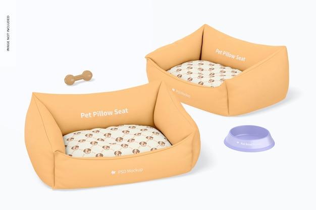 Maquete de assentos com almofada para animais de estimação, perspectiva