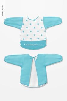 Maquete de babador de bebê com mangas, vista superior