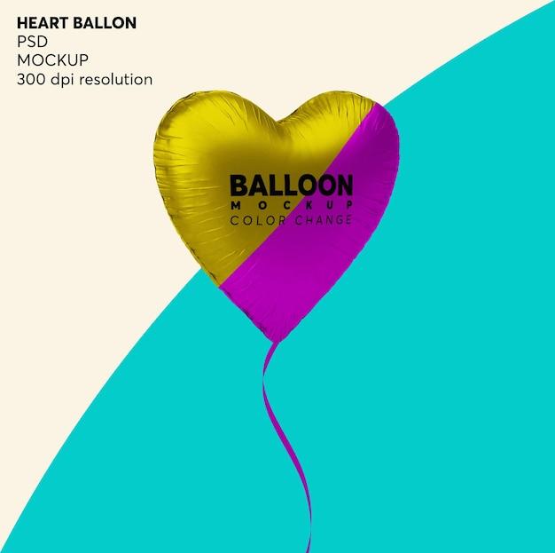 Maquete de balão de coração de hélio isolada