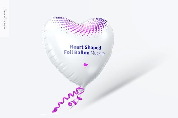 Maquete de balão de folha em forma de coração