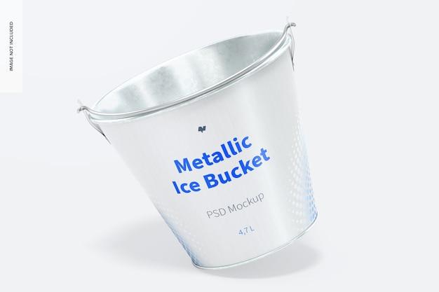 Maquete de balde de gelo metálico