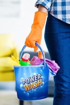 Maquete de balde de limpeza