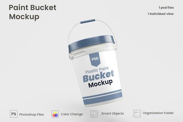 Maquete de balde de tinta de plástico premium psd