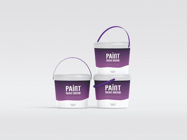 Maquete de balde de tinta de plástico