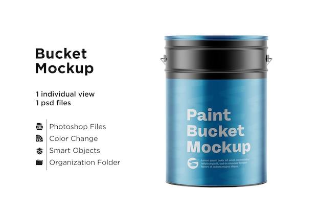 Maquete de balde de tinta metálica Psd Premium