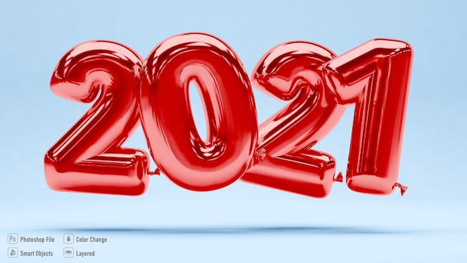 Maquete de balões vermelhos 2021 em renderização 3d isolada