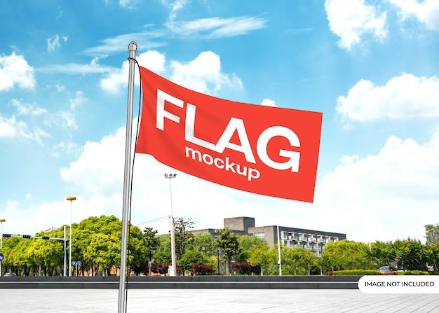Maquete de bandeira com fundo editável