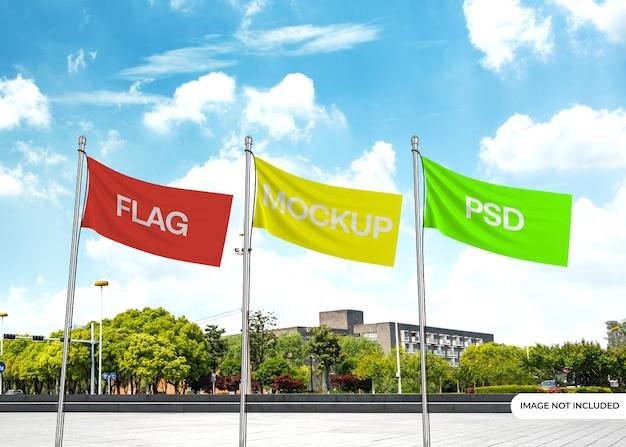 Maquete de bandeira com fundo editável Psd Premium