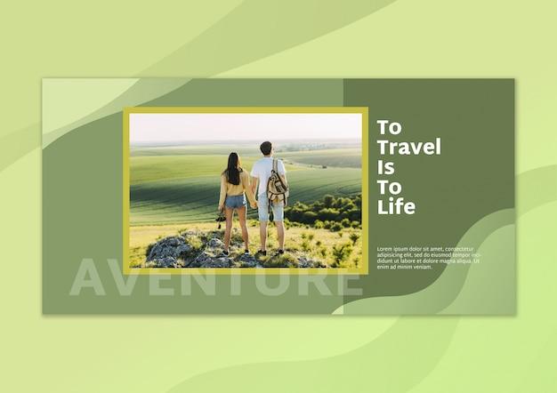 Maquete de bandeira com imagem e conceito de viagens