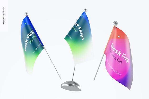 Maquete de bandeiras de mesa, flutuante