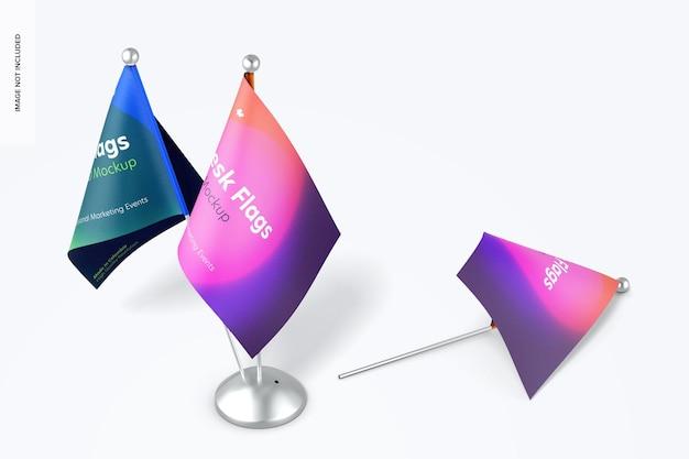 Maquete de bandeiras de mesa Psd grátis