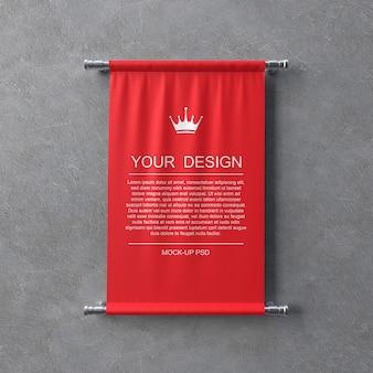 Maquete de bandeirola têxtil na parede cinza