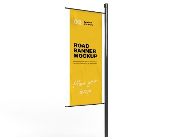 Maquete de banner 3d vertical pole road Psd Premium