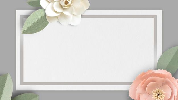 Maquete de banner cinza decorado com flores