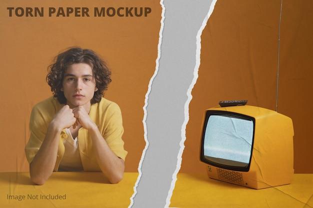 Maquete de banner com efeito de papel rasgado