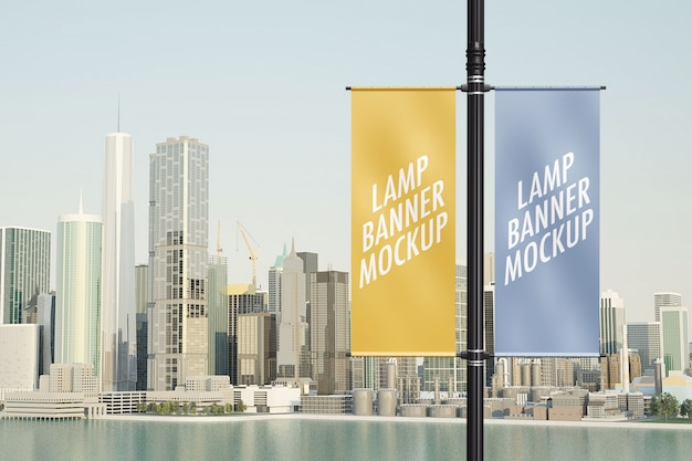 Maquete de banner da lâmpada Psd Premium
