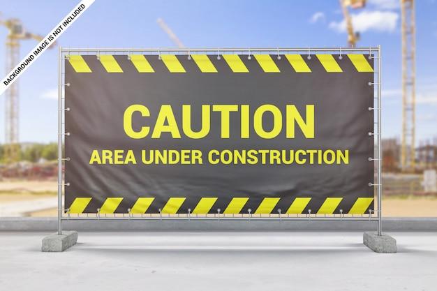 Maquete de banner de cerca de construção