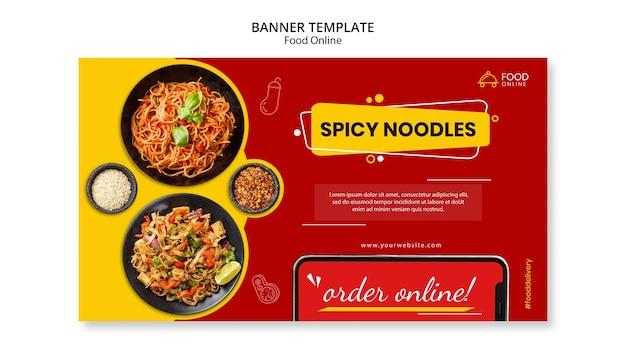 Maquete de banner de conceito online de alimentos