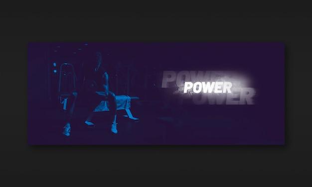 Maquete de banner de fitness escuro