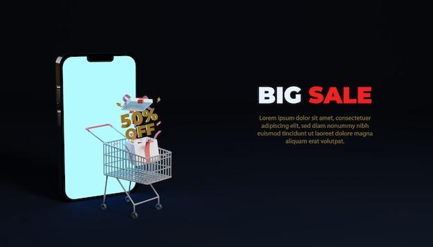 Maquete de banner de grande venda de compras online