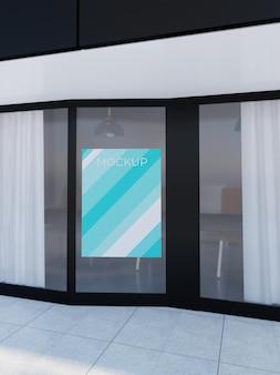 Maquete de banner de porta de vidro