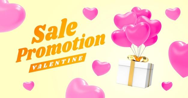 Maquete de banner de promoção de compras para namorados