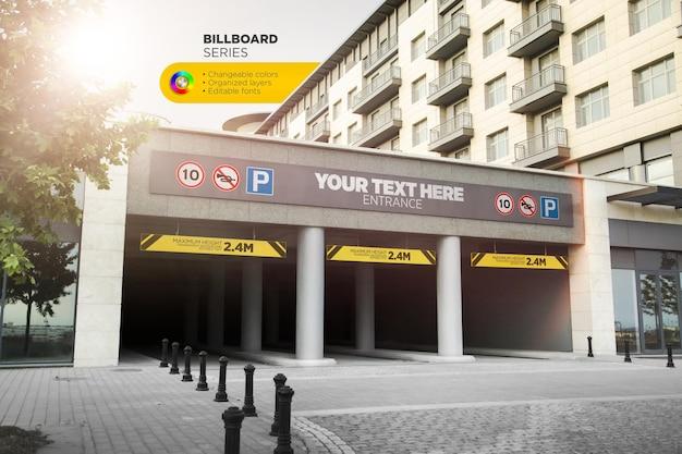 Maquete de banner horizontal de entrada do estacionamento subterrâneo