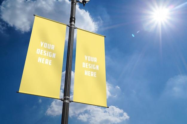 Maquete de banner post de lâmpada
