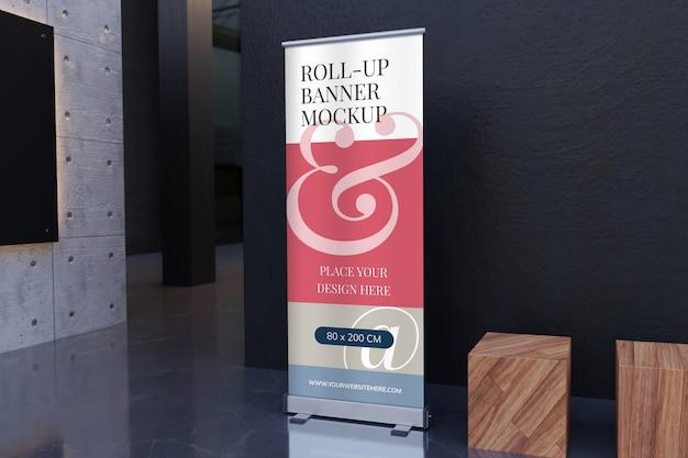 Maquete de banner roll-up em pé