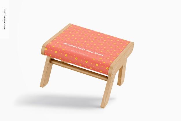 Maquete de banquinho de madeira para crianças, inclinado