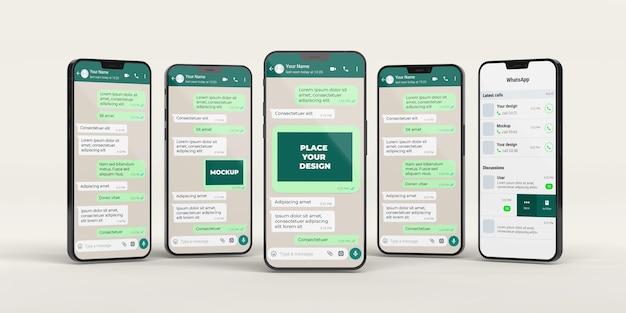 Maquete de bate-papo com arranjo de smartphones