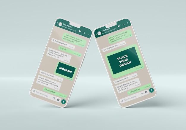 Maquete de bate-papo com smartphones