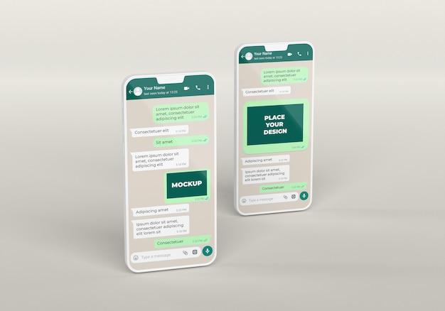 Maquete de bate-papo de arranjo de smartphones
