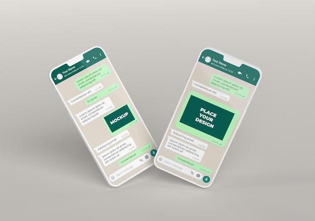 Maquete de bate-papo em smartphones