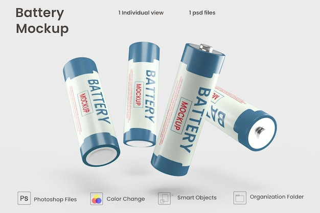 Maquete de bateria celular em renderização 3d para design de produto