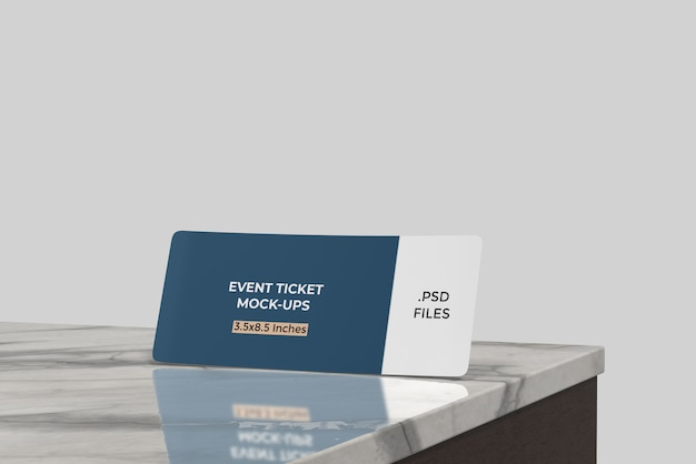 Maquete de bilhete de evento / cartão de embarque na mesa de cerâmica