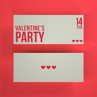 Maquete de bilhetes de festa dos namorados