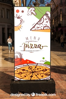 Maquete de billboard com design de pizza