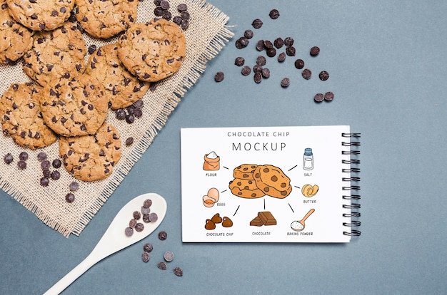 Maquete de biscoitos de chocolate deliciosos