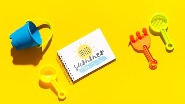 Maquete de bloco de leigos plana com elementos de verão