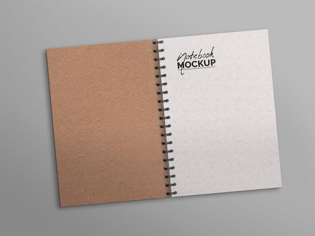 Maquete de bloco de notas aberto