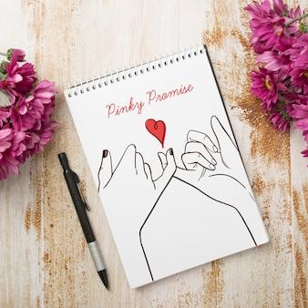 Maquete de bloco de notas de casamento floral