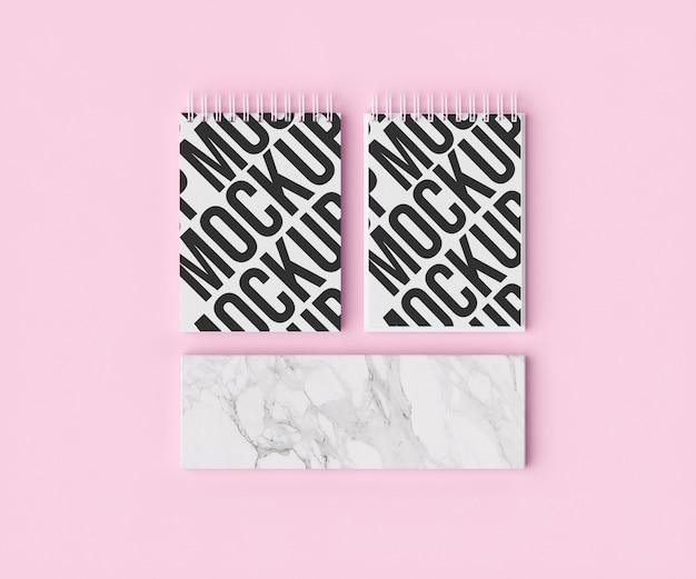 Maquete de bloco de notas duplo